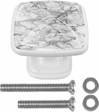 Kitchen Cabinet Knobs - White Gray Marble - Knobs