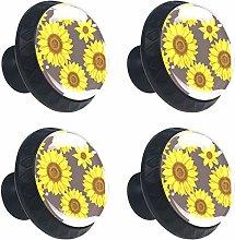 Kitchen Cabinet Knobs - Yellow Flower (3) - Knobs