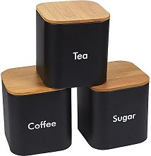 Kitchen Canister Set with Bamboo Lids (4.6 x 4.8 x