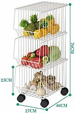 Kitchen Cart Metal Wire Basket With Wheels And