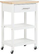 Kitchen Cart on Wheels Mobile Island Wooden Top