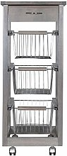 Kitchen Cart SLIM in beech wood 3 baskets and 1