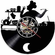 Kitchen Chef Vinyl Record Wall Clock Luminous