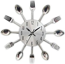 Kitchen clock effect mirror with spoon, fork, 3D
