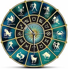 Kitchen clock Gold Blue Horoscope Circle with
