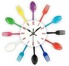 Kitchen Clock with Mirror Effect, Spoon Fork