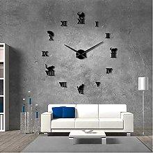 Kitchen clocks wall 3D DIY Large Wall Clock