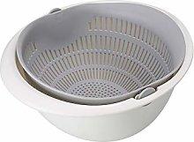 Kitchen Colander Bowl Plastic Double Layer