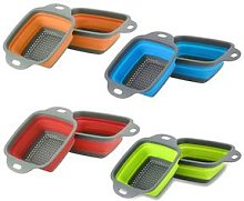 Kitchen Collapsible Basket Strainer: Two/Red/S and