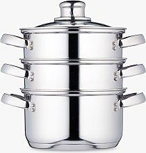 Kitchen Craft 3 Tier Stainless Steel Steamer Set