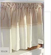 Kitchen Curtain/Small Curtain,Plaid Stitching/Cafe