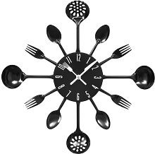 Kitchen Cutlery Utensil Wall Clock Black