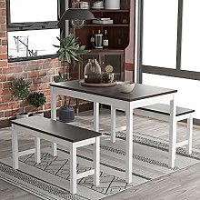 Kitchen Dining Table and 2 Bench Set Garden Bench