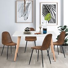 Kitchen Dining Table White Rectangular Modern