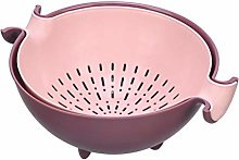 Kitchen Double Drain Basket Bowl Rice Washing