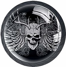 Kitchen Drawer Pulls Skull with Horns and Wings
