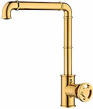 Kitchen Faucet 360 Degree Swivel Gold Plated Sink