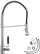 Kitchen mixer tap with detachable spray - grey