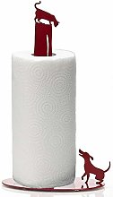 Kitchen Paper Towel Holder Dog Vs. Cat - Red Metal