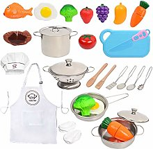 Kitchen Pretend Play Toys with Stainless Steel