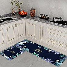 Kitchen Rug,2 Pieces L Shape Stain Resistant