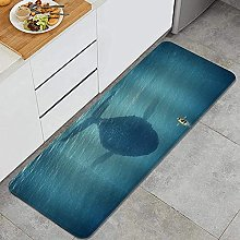 Kitchen Rug,a Man in a Boat Floats Next to a Giant
