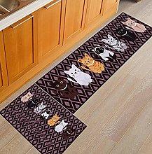Kitchen Rug Set - 2 Pieces Non-Skid Washable