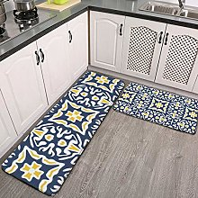 Kitchen Rugs Set 2 Piece,Navy And Yellow