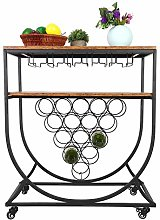 Kitchen Serving Trolley with Wine Rack Industrial
