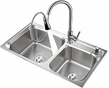 Kitchen Sink. Stainless Steel Double Bowl