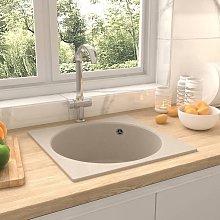 Kitchen Sink with Overflow Hole Beige