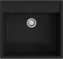 Kitchen Sink with Overflow Hole Black Granite -