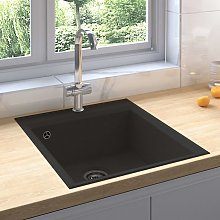 Kitchen Sink with Overflow Hole Black