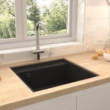 Kitchen Sink with Overflow Hole Black Granite