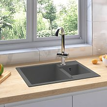 Kitchen Sink with Overflow Hole Double Basins Grey