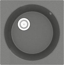 Kitchen Sink with Overflow Hole Grey Granite -
