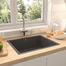 Kitchen Sink with Overflow Hole Grey Granite