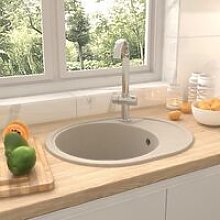Kitchen Sink with Overflow Hole Oval Beige Granite