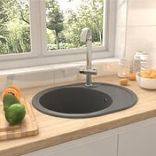 Kitchen Sink with Overflow Hole Oval Grey Granite