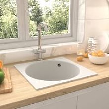 Kitchen Sink with Overflow Hole White Granite