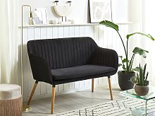 Kitchen Sofa Black Velvet Fabric Upholstery