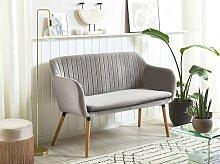 Kitchen Sofa Grey Velvet Fabric Upholstery