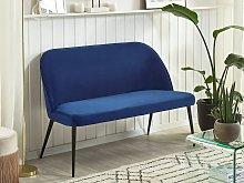 Kitchen Sofa Navy Blue Velvet Fabric Upholstery
