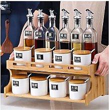 Kitchen Spice Box 2-layer Wooden Spice Rack