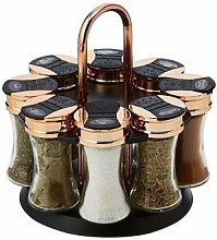 Kitchen Spice Rack Tower Rotating Golden Lid 8