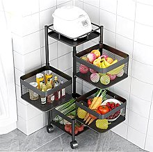Kitchen storage shelves Rotatable Basket Rack