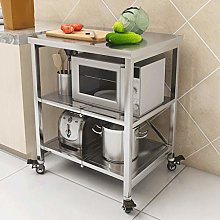 Kitchen Storage Trolley, 3 Tier Foldable Stainless