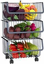 Kitchen Storage Trolley Fruit Vegetable 3 Tier