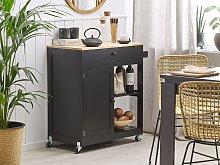 Kitchen Trolley Black Pine Wood 44L x 75W x 87H cm