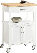 Kitchen Trolley Cart with Doors & Storage Cabinet,